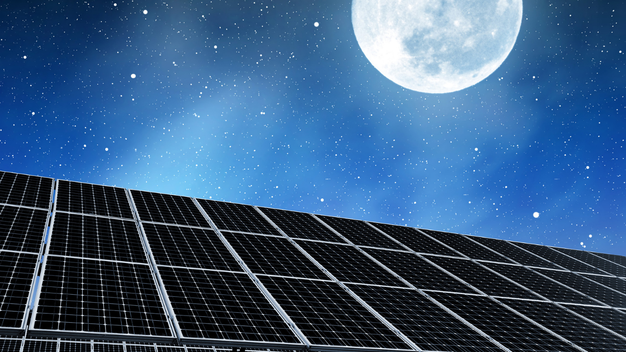 solar panel in moonlight